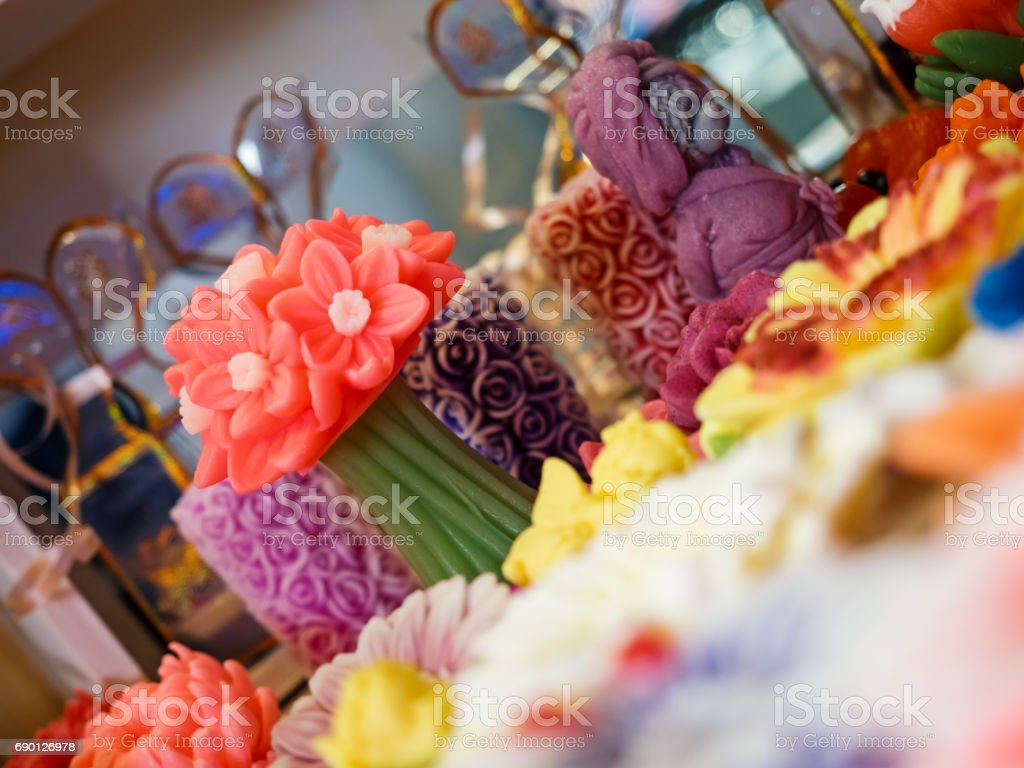 Handmade Market - handmade decorative soap on the counter. Shallow depth of field. stock photo