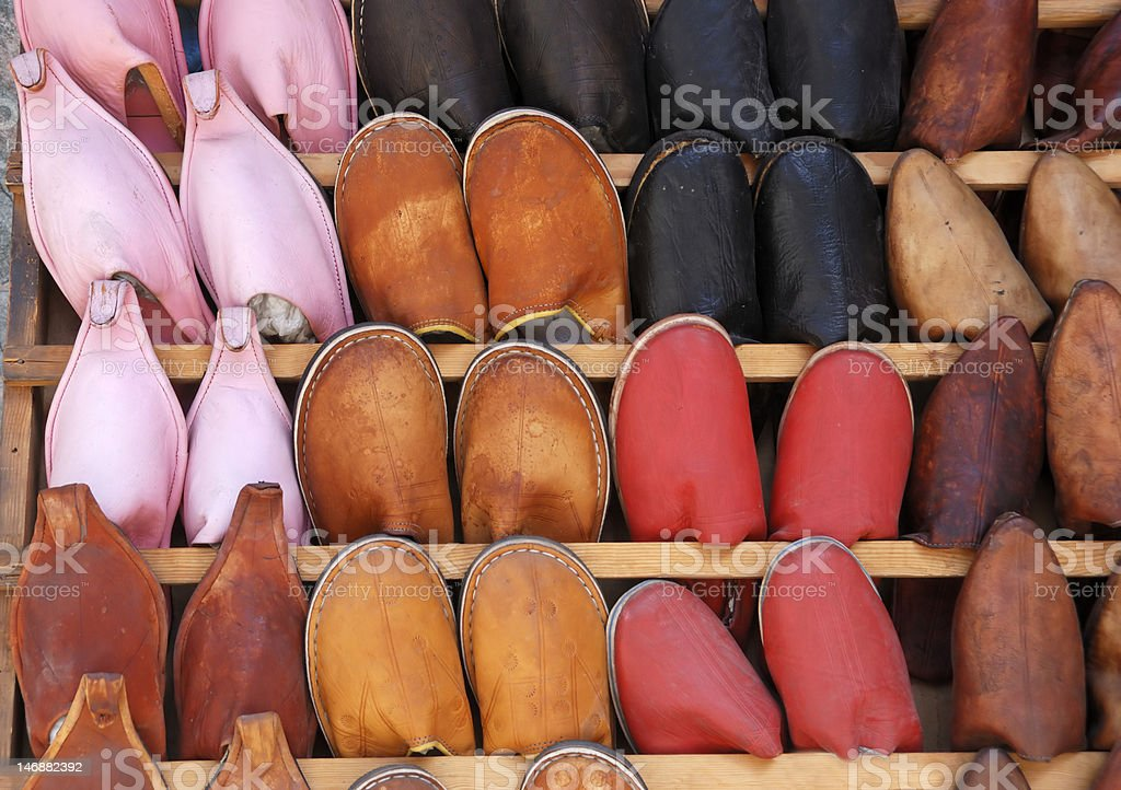 Handmade Moroccan shoes royalty-free stock photo