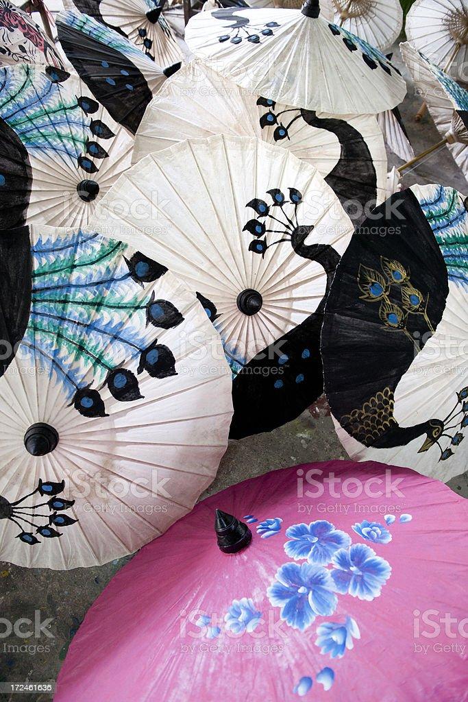 handmade multi colored rice paper parasols stock photo