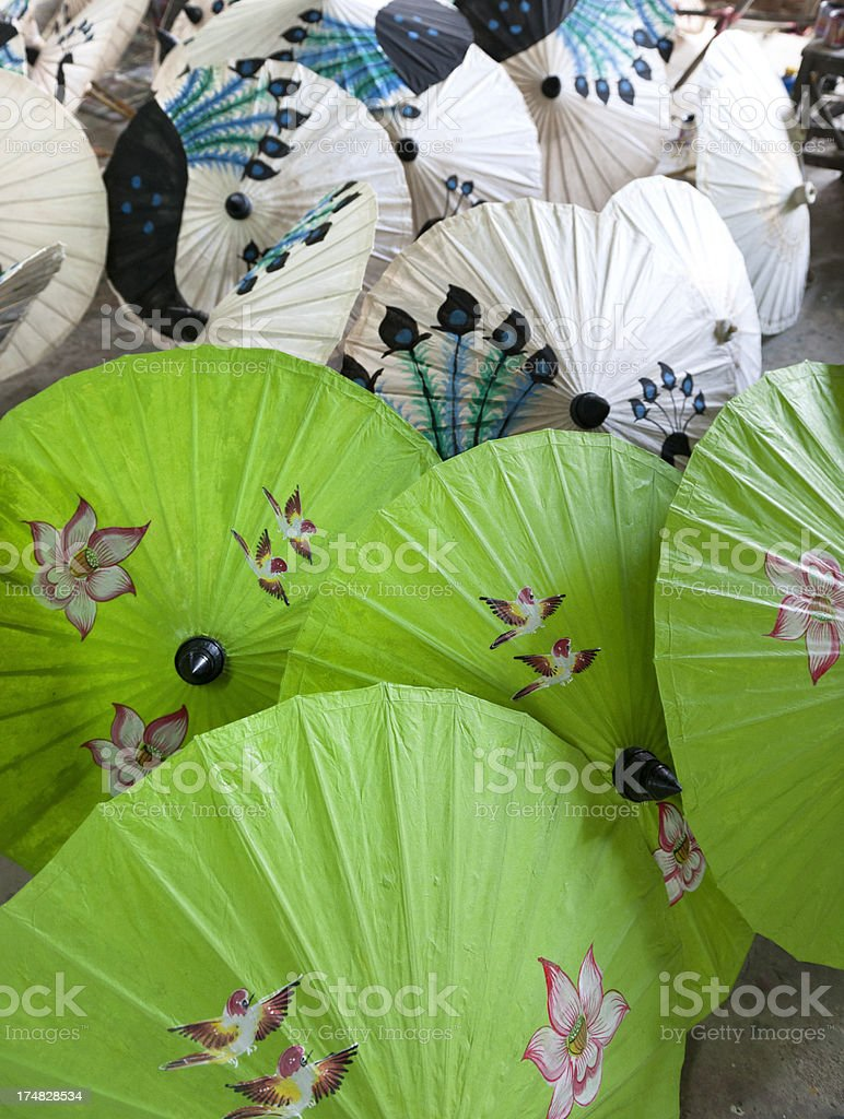 handmade multi colored rice paper parasols royalty-free stock photo
