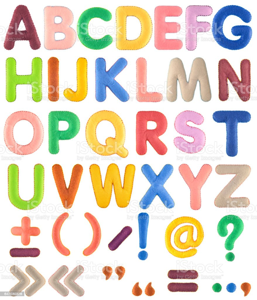 Handmade multicolor Alphabet set with punctuation marks from felt stock photo