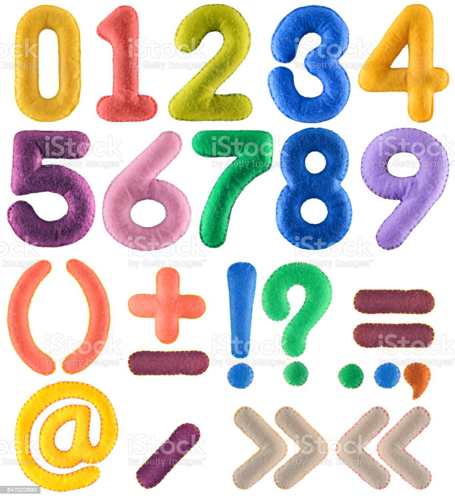 Handmade multicolor number set with punctuation marks from felt stock photo