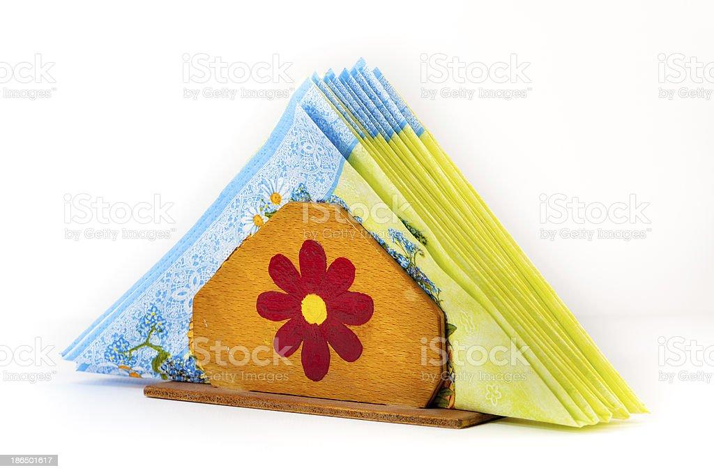 Handmade napkin holder royalty-free stock photo