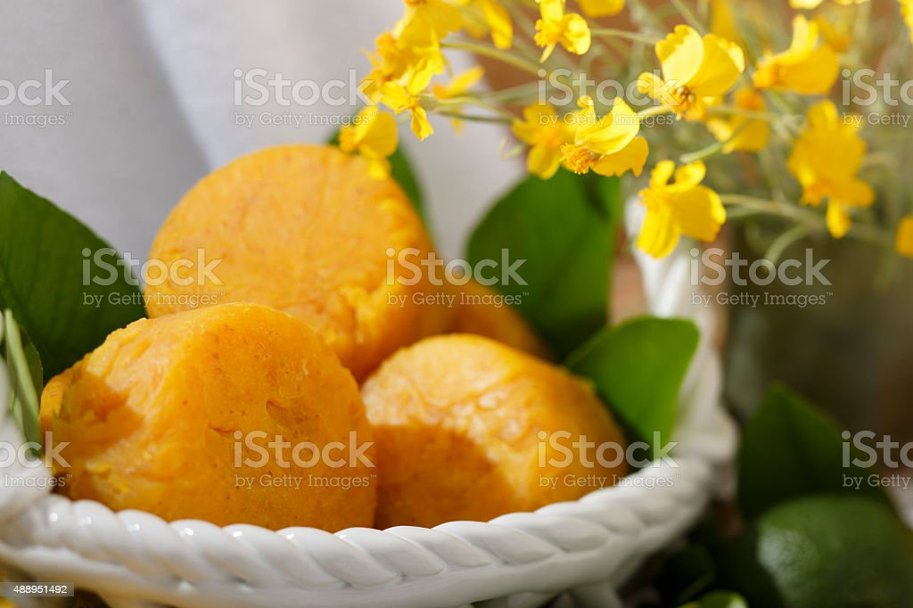 Handmade Natural Citrus Scented Yellow Soap Spa Set royalty-free stock photo