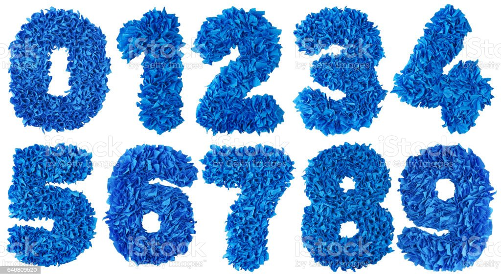 Handmade numbers set from blue scraps of paper stock photo