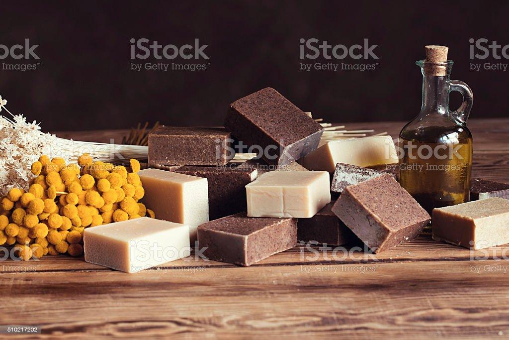 handmade olive oil soap stock photo