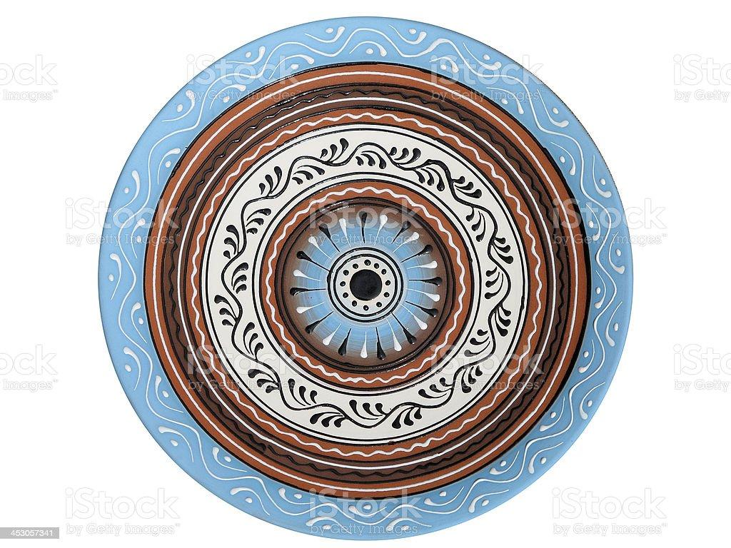 Feitos à mão ornated Olaria placa isolado a branco foto de stock royalty-free