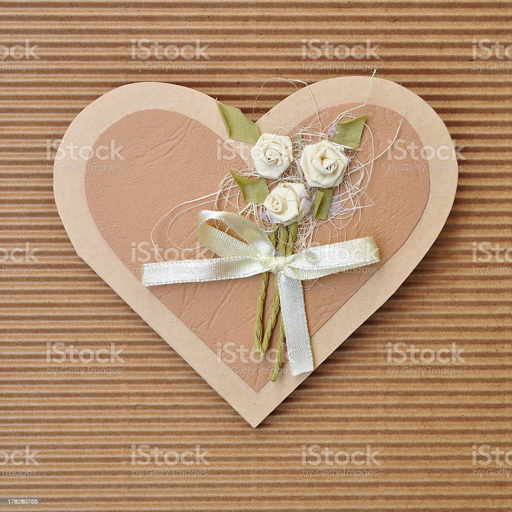 Handmade paper card love heart shape royalty-free stock photo