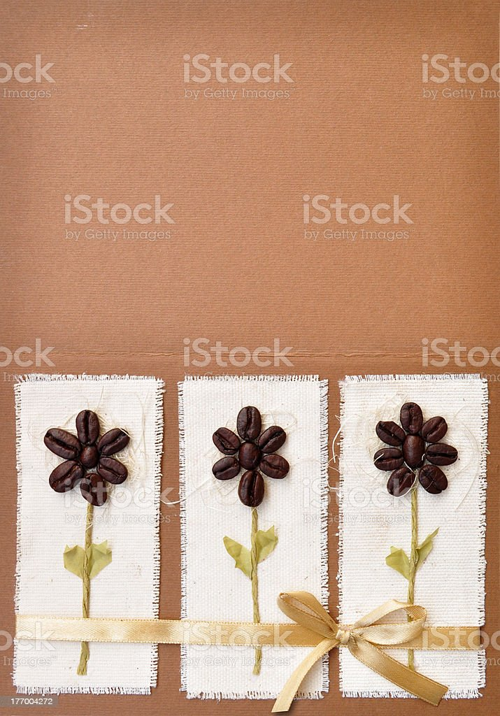 Handmade paper card with coffee beans royalty-free stock photo