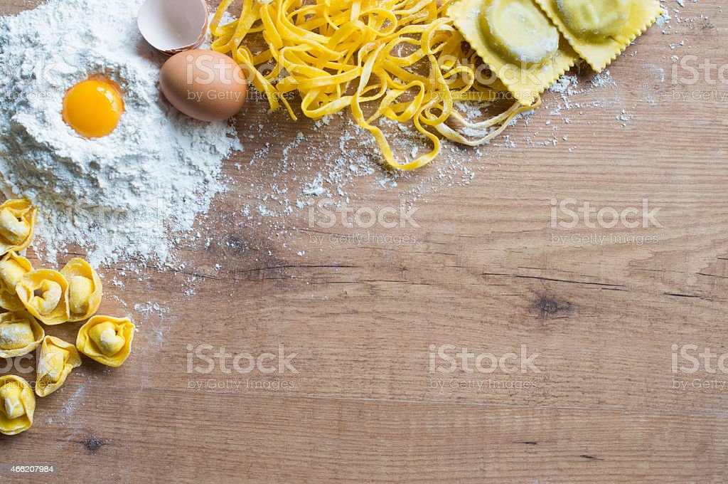 Handmade pasta background stock photo