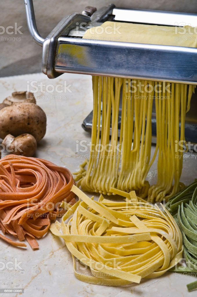 Hand-made pasta stock photo