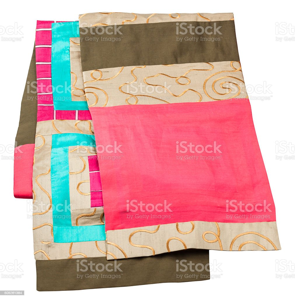 handmade patchwork silk scarf isolated on white stock photo