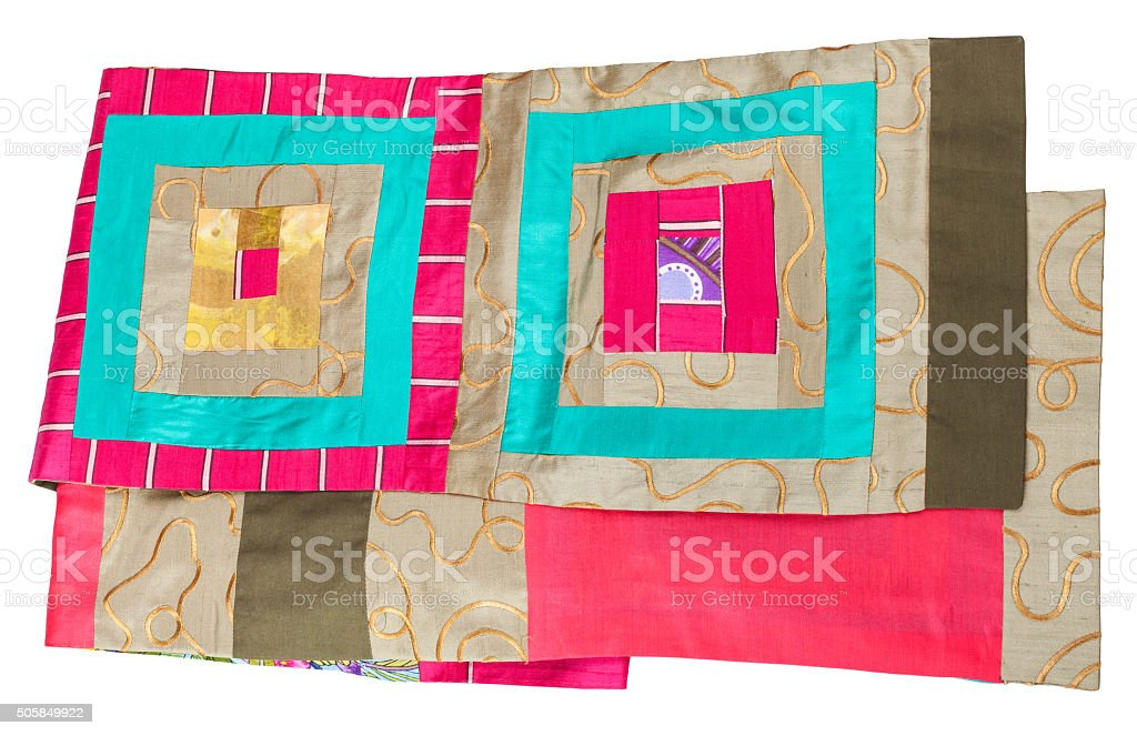 handmade patchwork silk scarf with square pattern stock photo