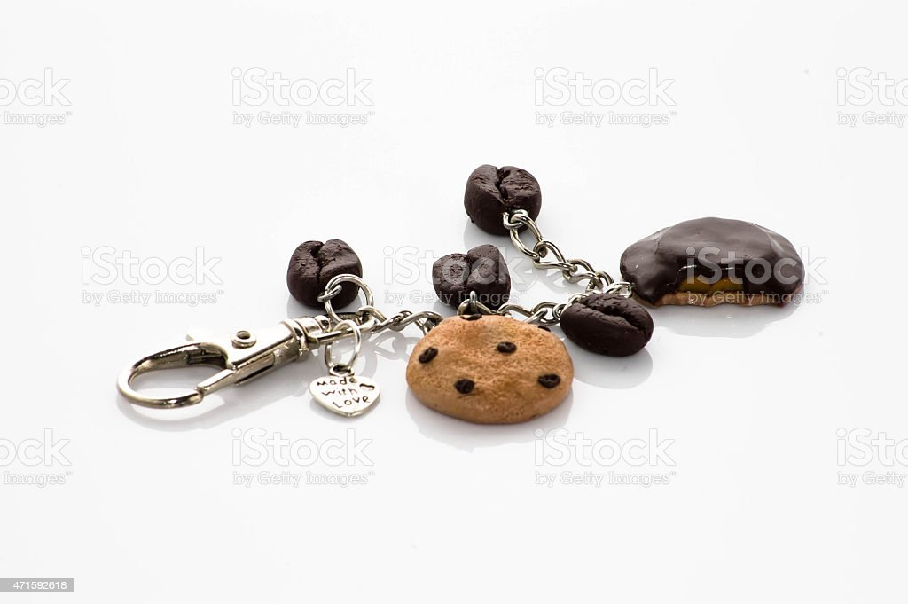 Handmade pendant with coffee beans and biscuits stock photo