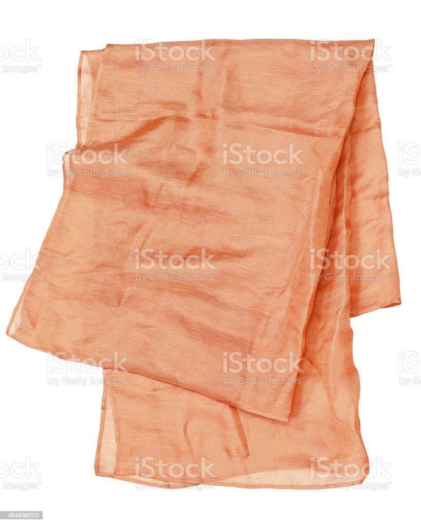 Handmade pink silken scarf on white background stock photo
