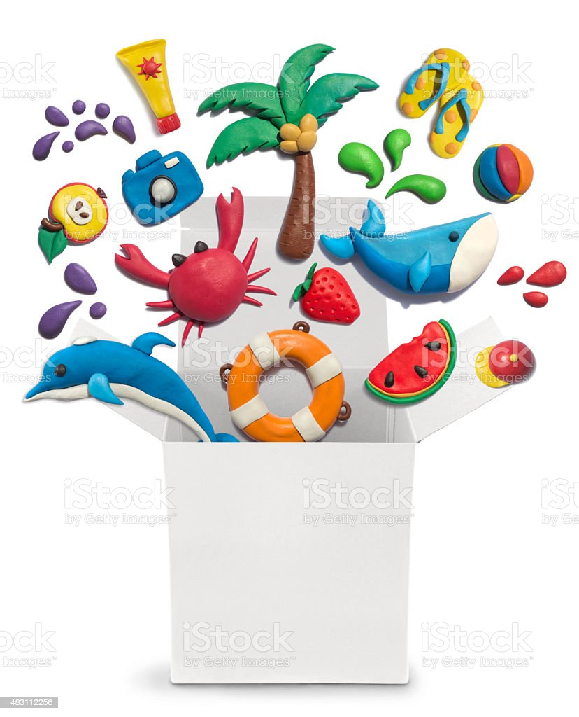 Handmade plasticine summer objects in the white box. stock photo