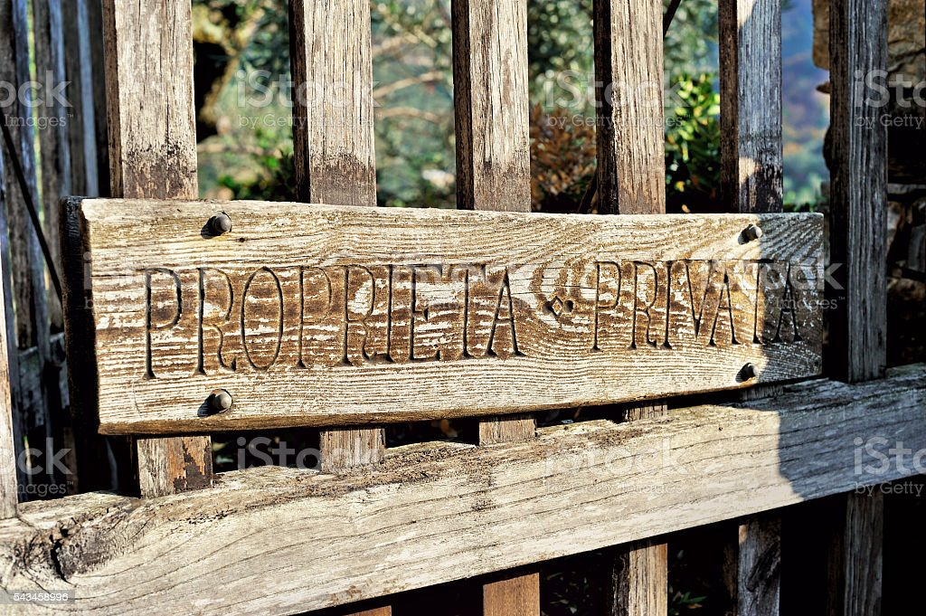 handmade plate 'private territory' on Italian yard stock photo
