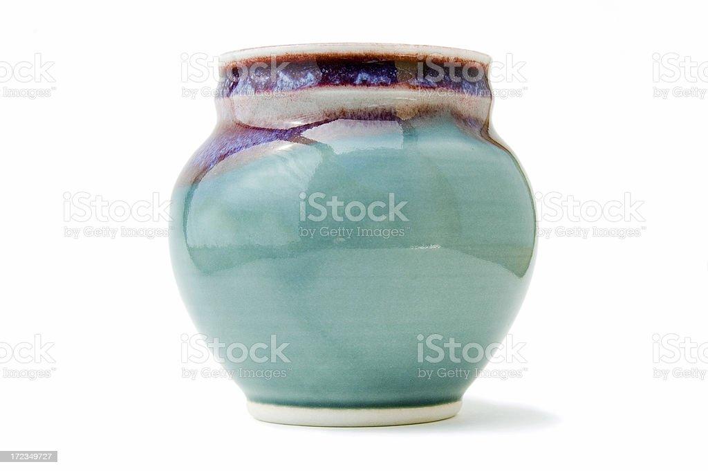 Handmade pottery vase on white stock photo