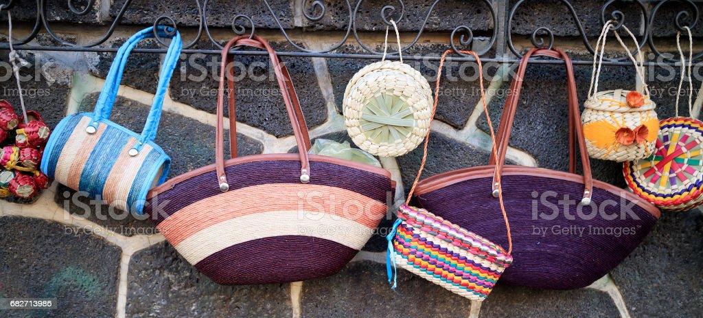 Handmade purses stock photo