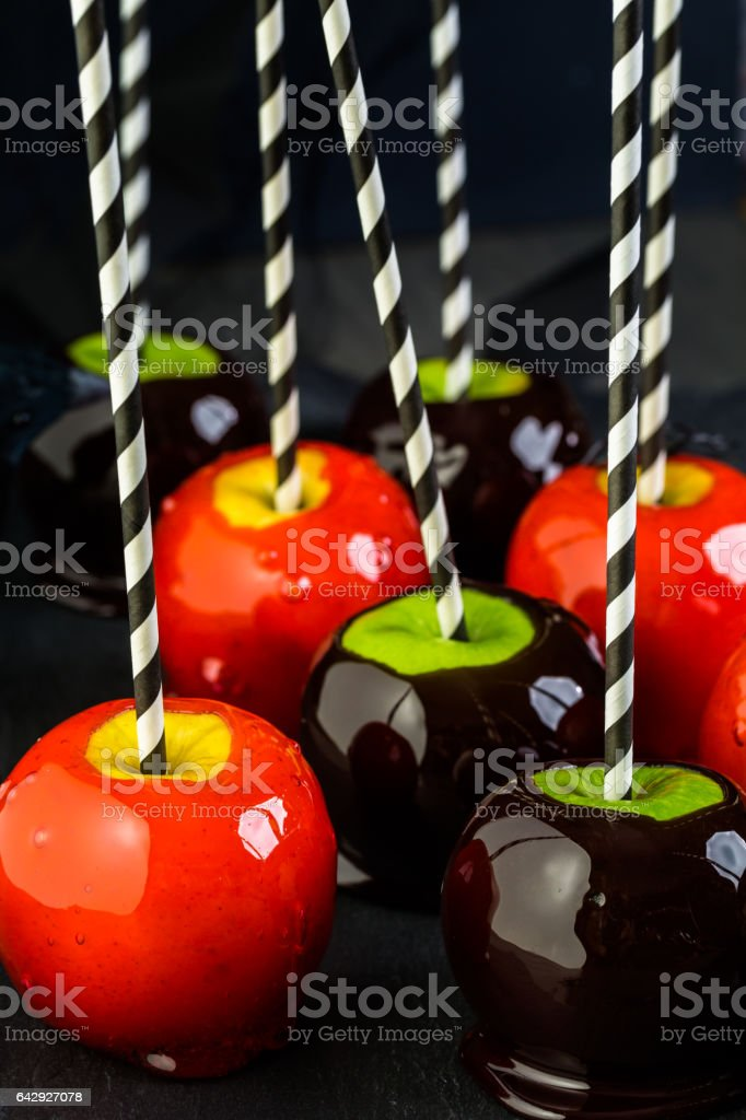 Handmade red candy apples stock photo