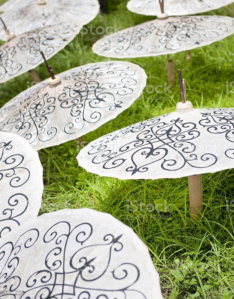 handmade rice paper parasols stock photo