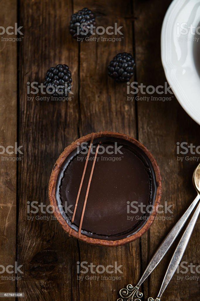Handmade Rich Chocolate Tartlets stock photo