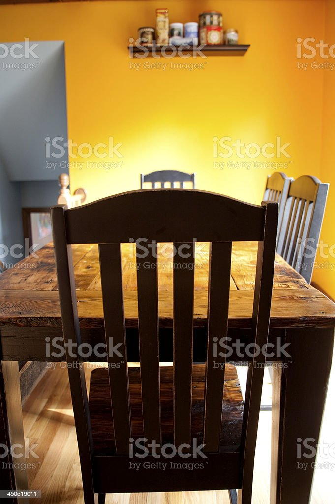 Handmade rustic farm dining set made from reclaimed wood royalty-free stock photo