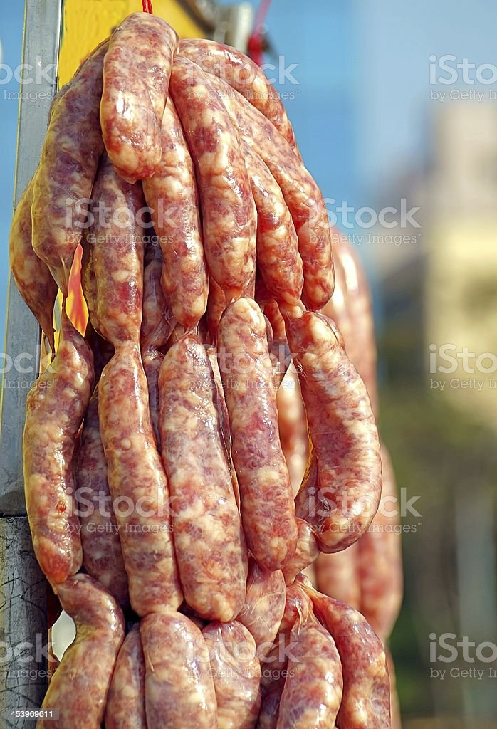 Handmade Sausages for Sale stock photo