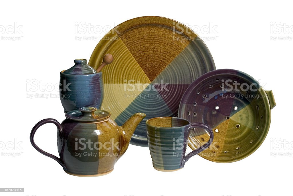Handmade set of pottery with clipping path royalty-free stock photo