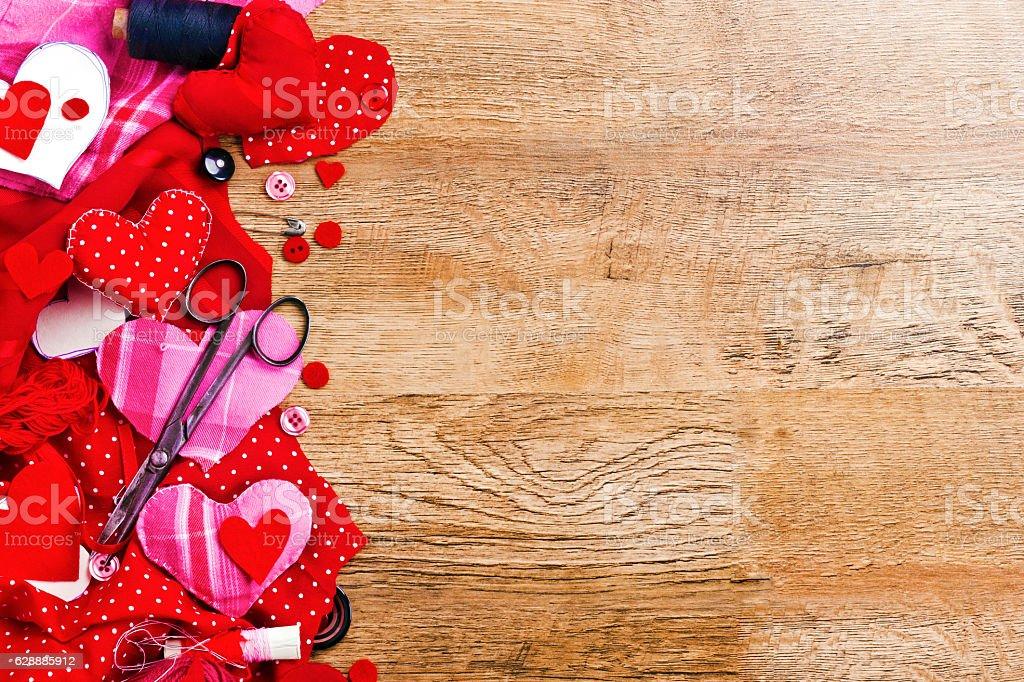 Handmade sewing hearts stock photo