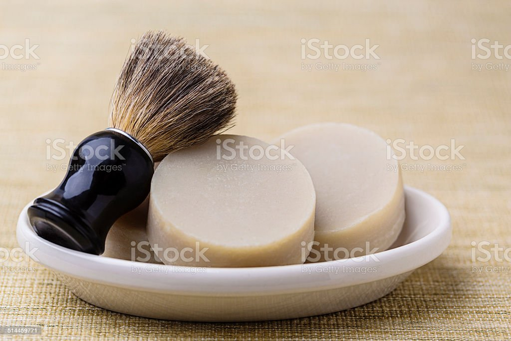 Handmade Shaving Soap With Brush stock photo