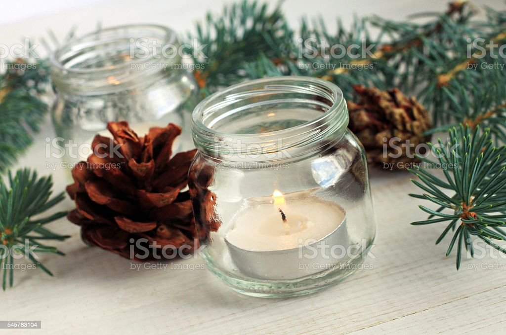 Handmade simple winter home decoration. stock photo