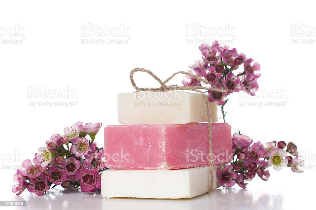 handmade soap and cherry blossoms royalty-free stock photo