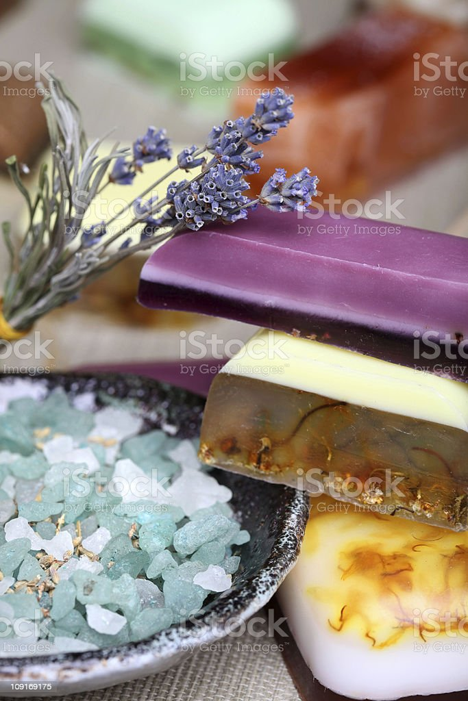 Handmade  soap bars, bath salt, and lavender flowers royalty-free stock photo