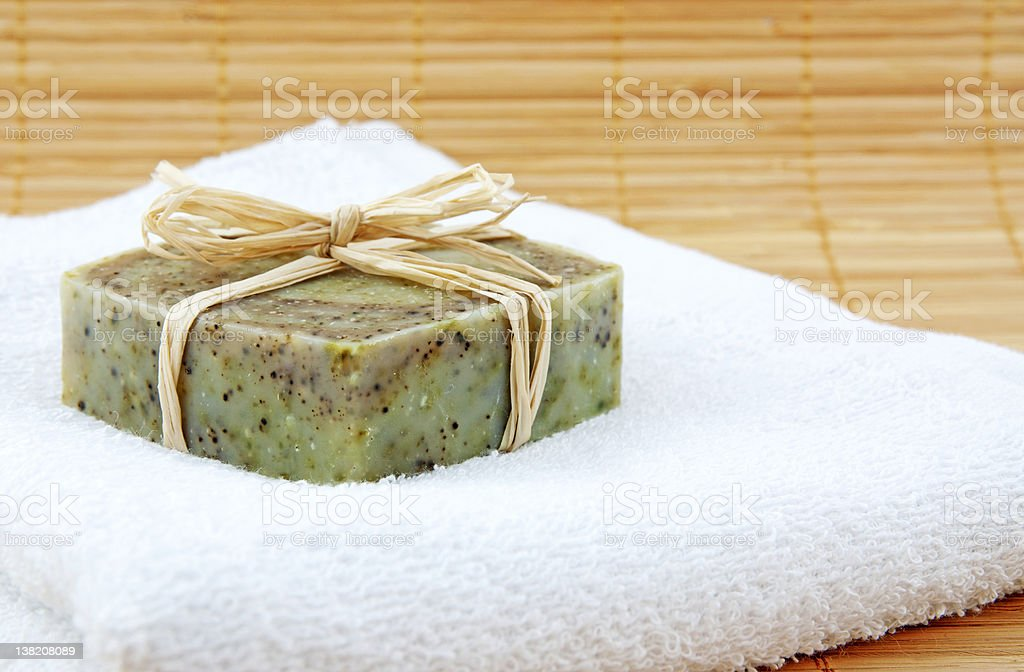 Hand-made soap in wellness still life royalty-free stock photo