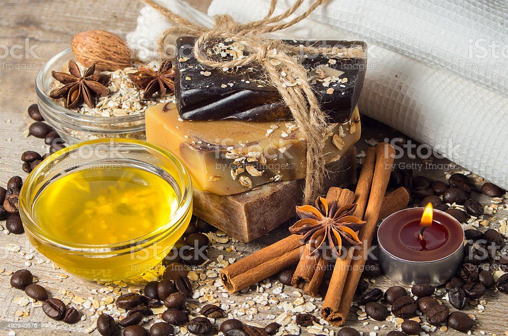 Handmade soap with coffee beans and spices stock photo