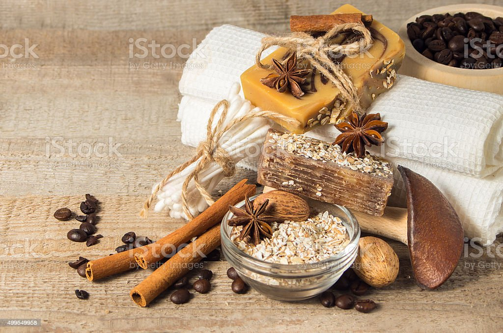 Handmade soap with coffee beans. stock photo