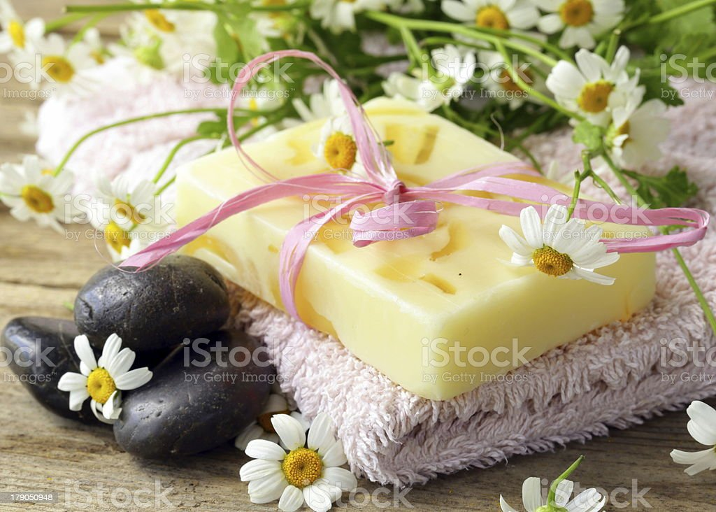 handmade soap with flowers on the organic background royalty-free stock photo