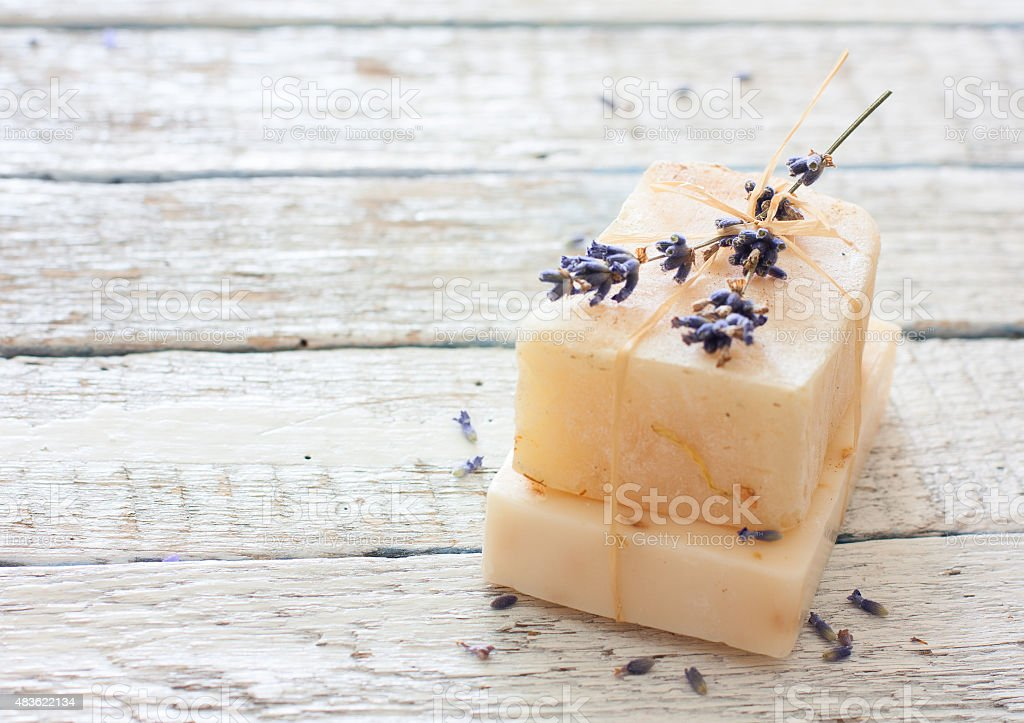 Handmade soap with lavender flowers stock photo