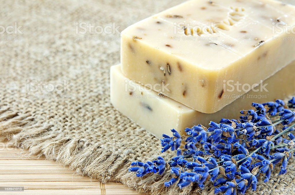 Hand-made soap with lavender stock photo