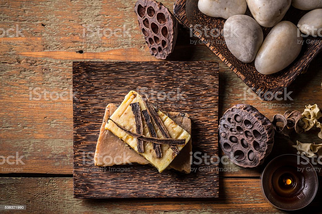 Handmade soap with vanilla stock photo