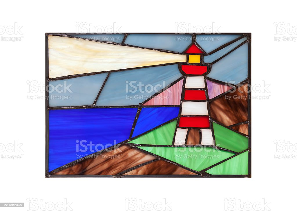 Handmade stained glass composition with abstract coastal landsca stock photo