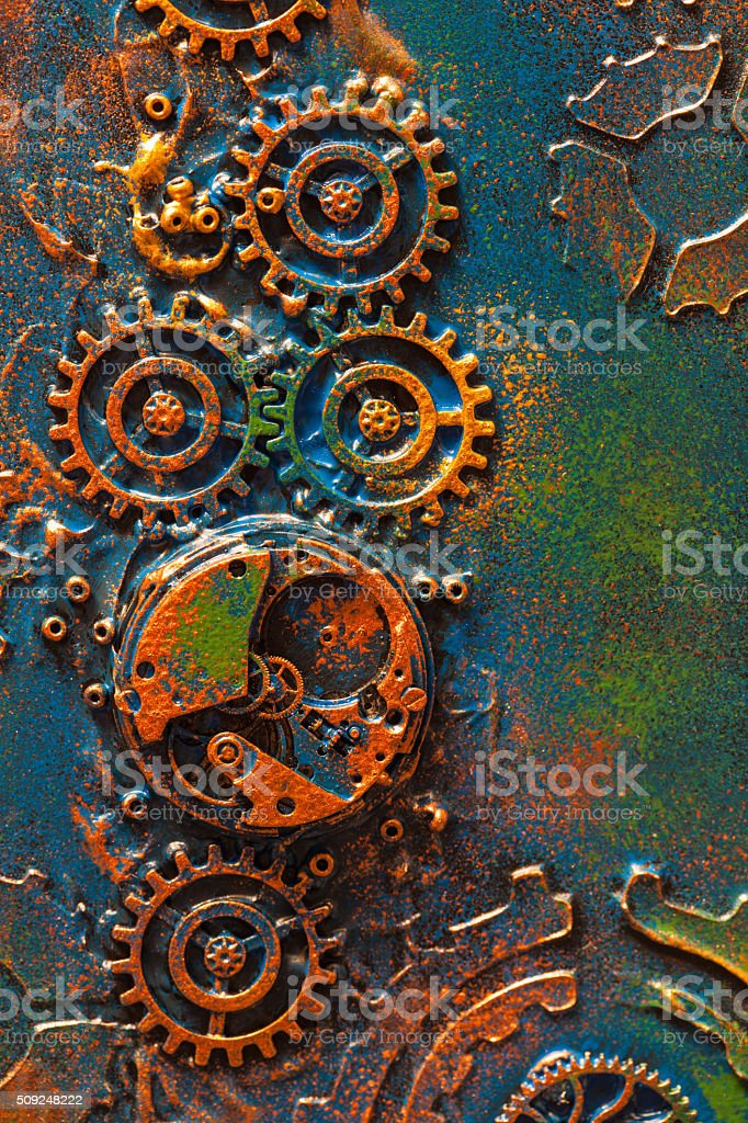 handmade steampunk background mechanical cogs wheels clockwork stock photo