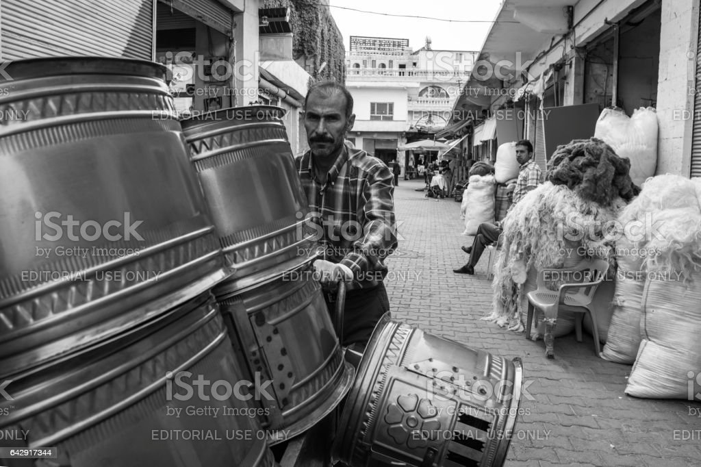 Handmade Stove Seller On The Street Of Midyat,Turkey stock photo