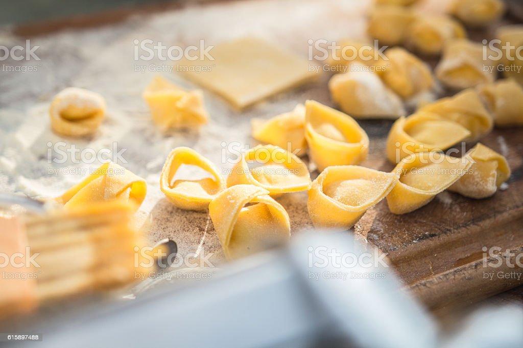Handmade stuffed pasta tortellini stock photo