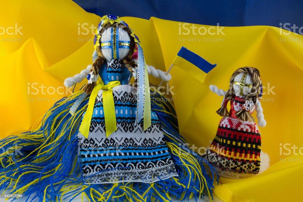 Handmade textill rag doll Motanka stock photo
