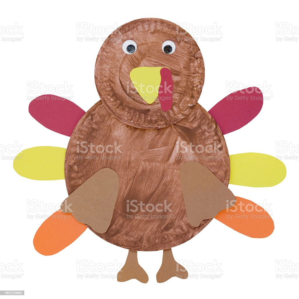 Handmade Thanksgiving Turkey Paper Craft Project stock photo