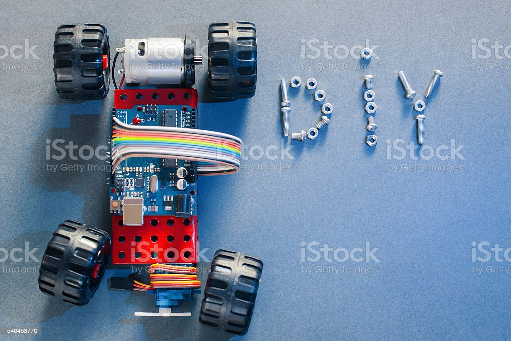 Handmade toy-machine on microcontroller base, diy stock photo