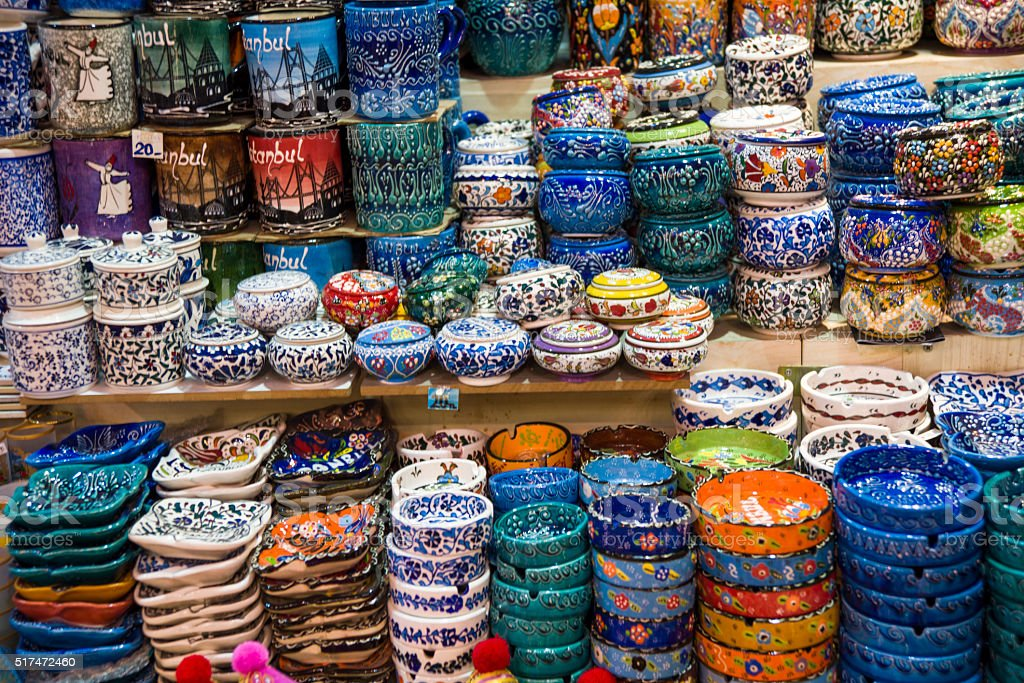 Handmade Traditional Iznik Style Pottery Bowls in Egyptian Bazaa stock photo