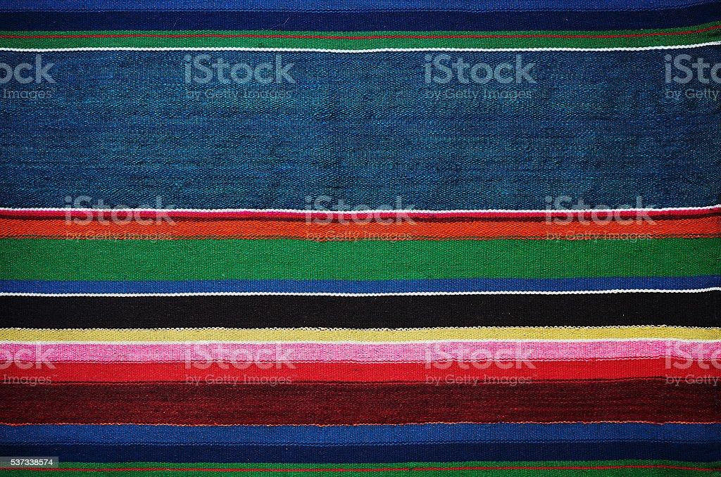 Handmade traditional old ukrainian colorful striped carpet rug texture stock photo